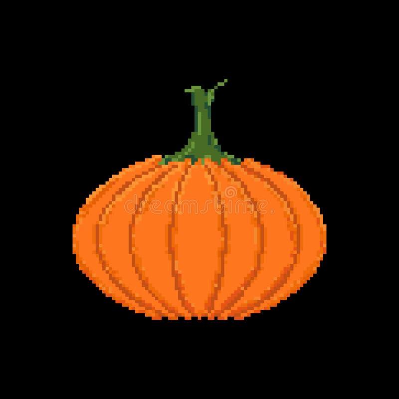 Symbol för vektor för pumpa för gullig plan PIXELkonst isolerad färgrik; pumpk royaltyfri illustrationer