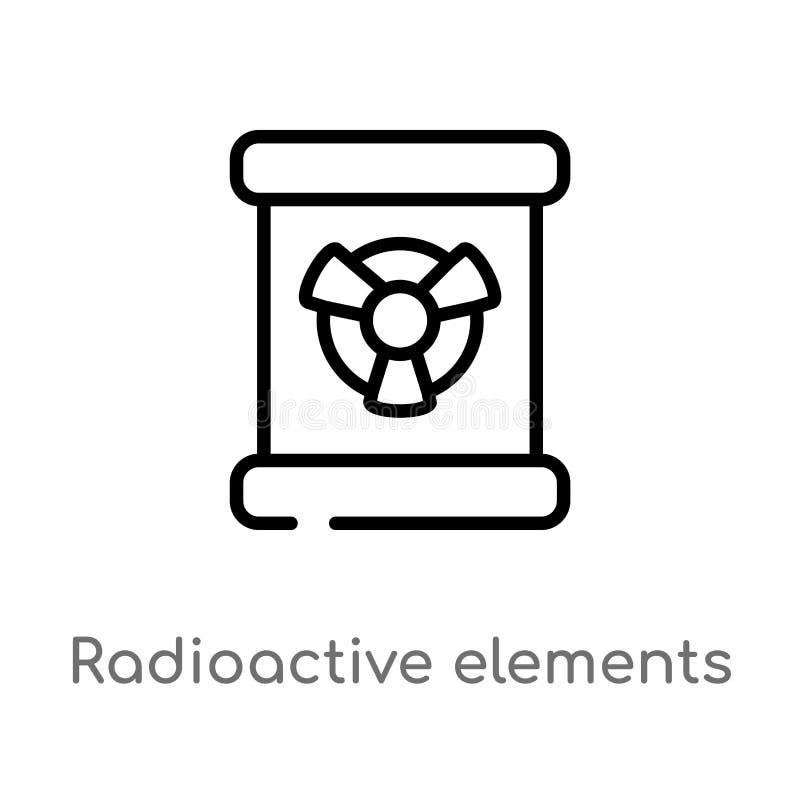 symbol för vektor för radioaktiva beståndsdelar för översikt isolerad svart enkel linje beståndsdelillustration från teckenbegrep royaltyfri illustrationer
