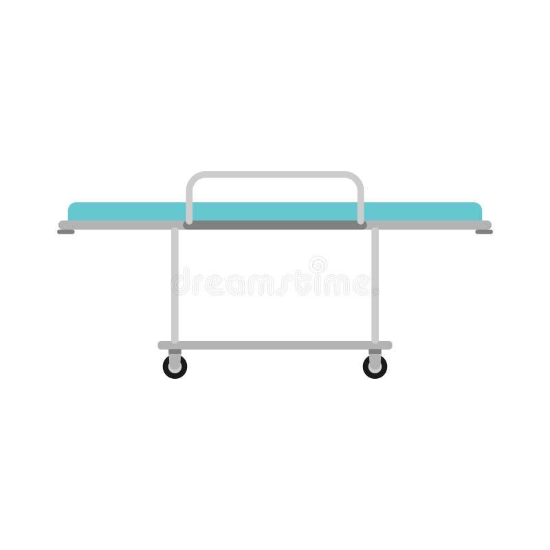 Symbol för vektor för säng för sjukhusbårspårvagn Utrustning för klinikgurneyambulans Plan sjuk hjultecknad filmtransport stock illustrationer