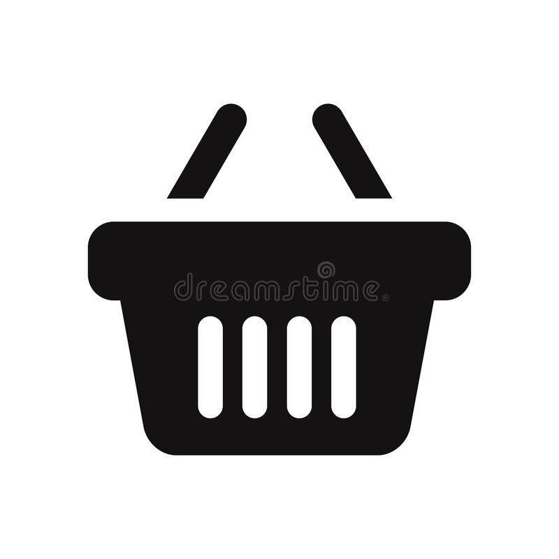 Symbol för vektor för shoppingkorg som isoleras på vit bakgrund vektor illustrationer