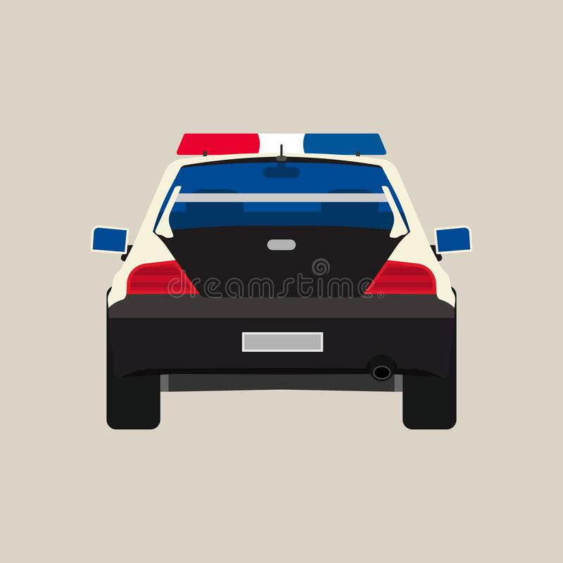 Symbol för vektor för sikt för baksida för polisbil plan Isolerat svart patrullbrott för medel snut Stads- billykta för vaktsheri stock illustrationer