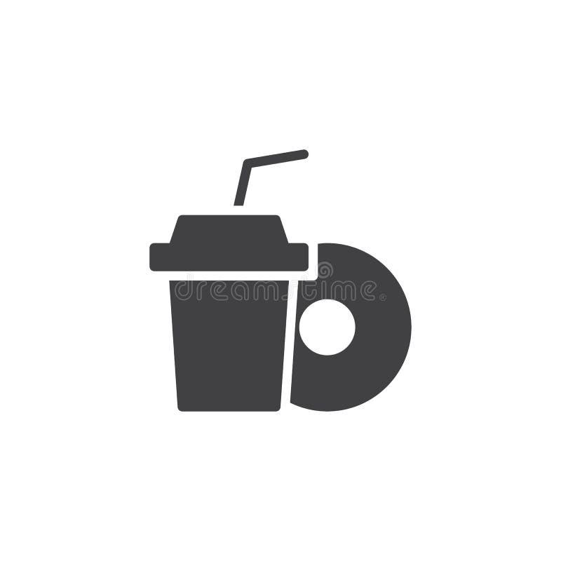 Symbol för vektor för för sodavattendrinkkopp och munk vektor illustrationer
