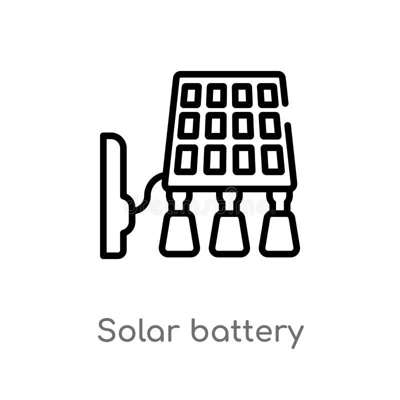 symbol för vektor för sol- batteri för översikt isolerad svart enkel linje beståndsdelillustration från teknologibegrepp Redigerb stock illustrationer