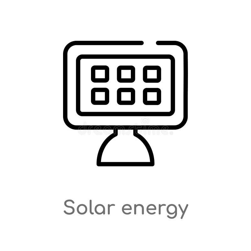 symbol för vektor för sol- energi för översikt isolerad svart enkel linje beståndsdelillustration från ekologibegrepp Redigerbar  vektor illustrationer