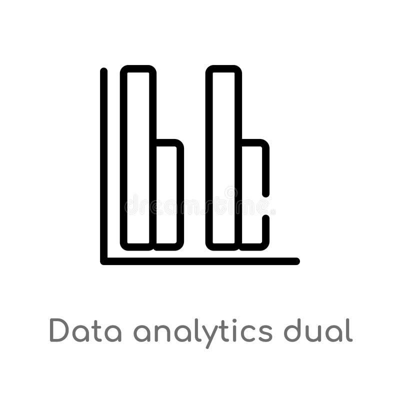 symbol för vektor för stänger för översiktsdataanalytics dubbel isolerad svart enkel linje beståndsdelillustration från användarg royaltyfri illustrationer
