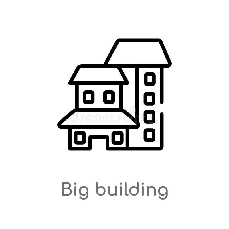 symbol för vektor för stor byggnad för översikt isolerad svart enkel linje beståndsdelillustration från konstruktionsbegrepp Redi vektor illustrationer