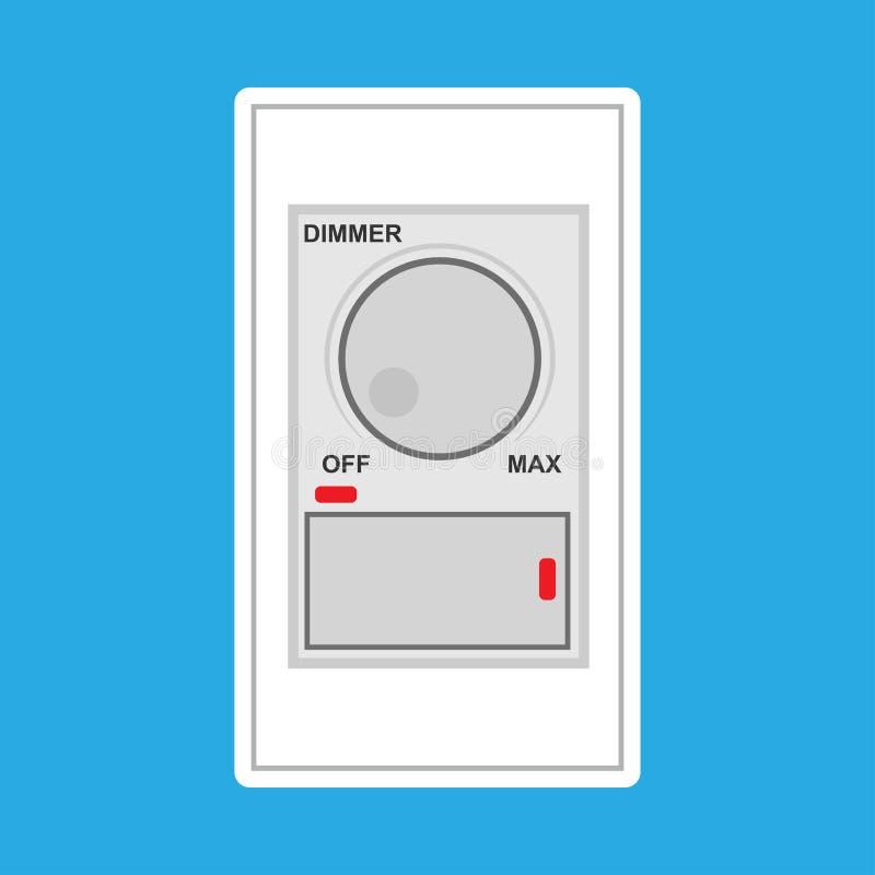 Symbol för vektor för strömbrytareljusdämpareljus elektrisk Vit knapp för makt för energi för väggkontroll Ljus rund reglering fö royaltyfri illustrationer