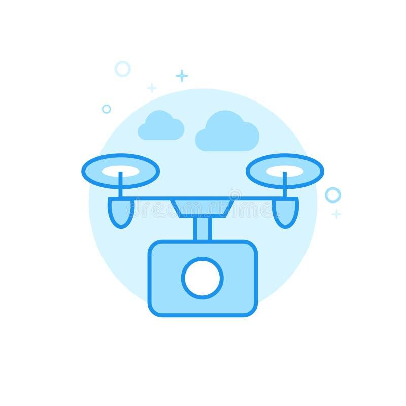 Symbol för vektor för surrbröllop video plan, symbol, Pictogram, tecken Ljust - blå monokrom design Redigerbar slaglängd royaltyfri illustrationer