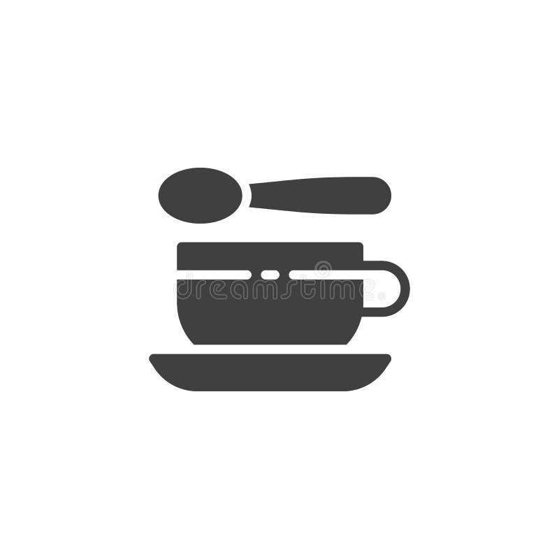 Symbol för vektor för tekopp och sked vektor illustrationer