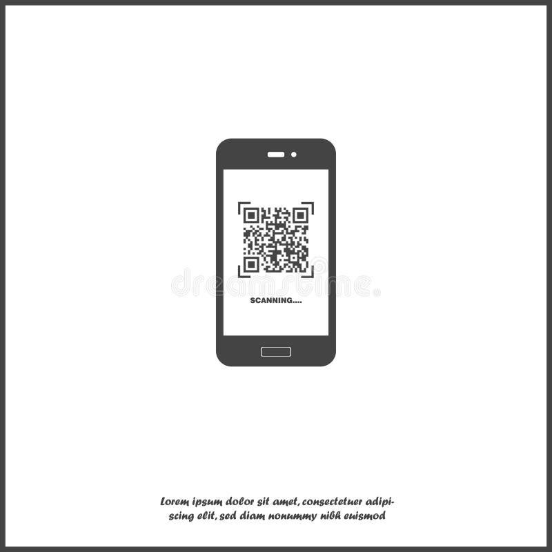 Symbol för vektor för telefon för Qr kodbildläsning på vit isolerad bakgrund Lager som grupperas f?r l?tt redigerande illustratio royaltyfri illustrationer