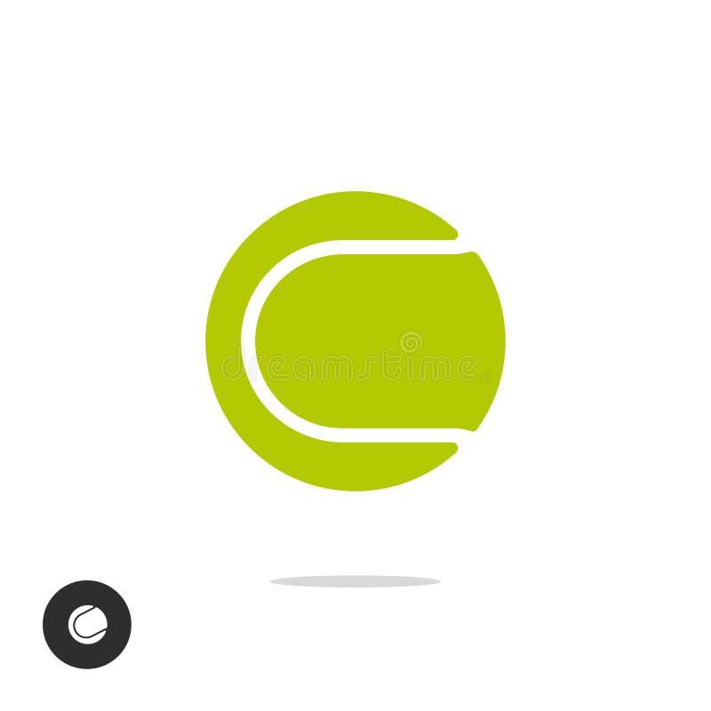 Symbol för vektor för symbol för tennisboll som isoleras på vit bakgrundsclipart vektor illustrationer