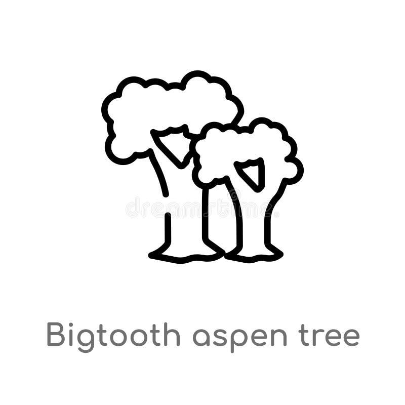 symbol för vektor för träd för översiktsbigtooth asp- isolerad svart enkel linje best?ndsdelillustration fr?n naturbegrepp Redige stock illustrationer