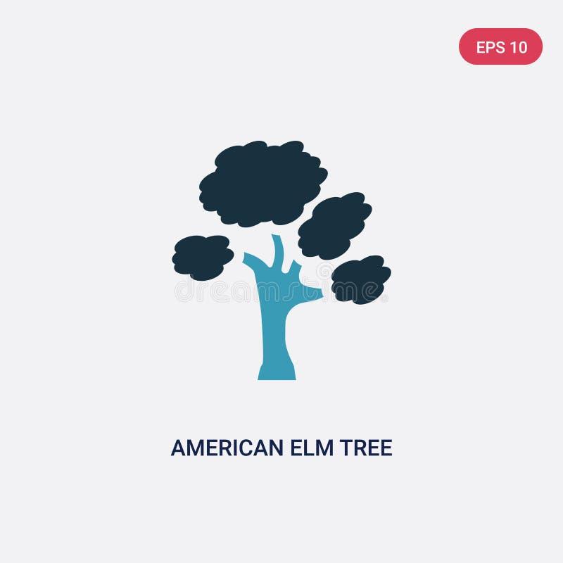 Symbol för vektor för träd för amerikansk alm för två färg från naturbegrepp det isolerade blåa symbolet för tecknet för vektorn  royaltyfri illustrationer