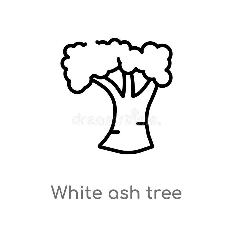 symbol för vektor för träd för vit aska för översikt isolerad svart enkel linje beståndsdelillustration från naturbegrepp Rediger vektor illustrationer