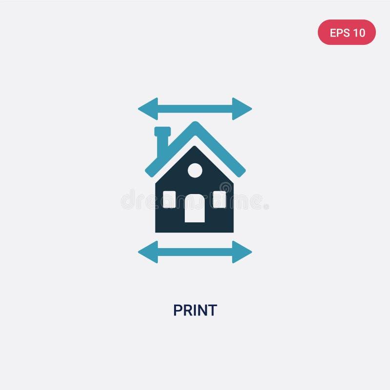 Symbol för vektor för tryck för färg två från fastighetbegrepp det isolerade för vektortecknet för det blåa trycket symbolet kan  stock illustrationer