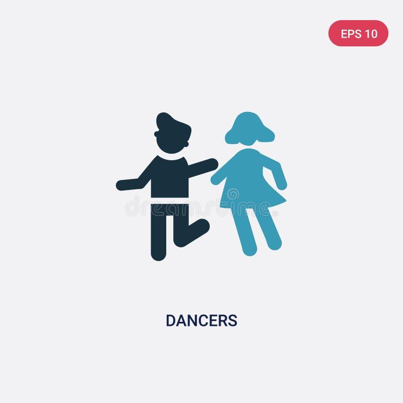 Symbol för vektor för två färgdansare från folkbegrepp det isolerade blåa symbolet för dansarevektortecknet kan vara bruk för ren stock illustrationer