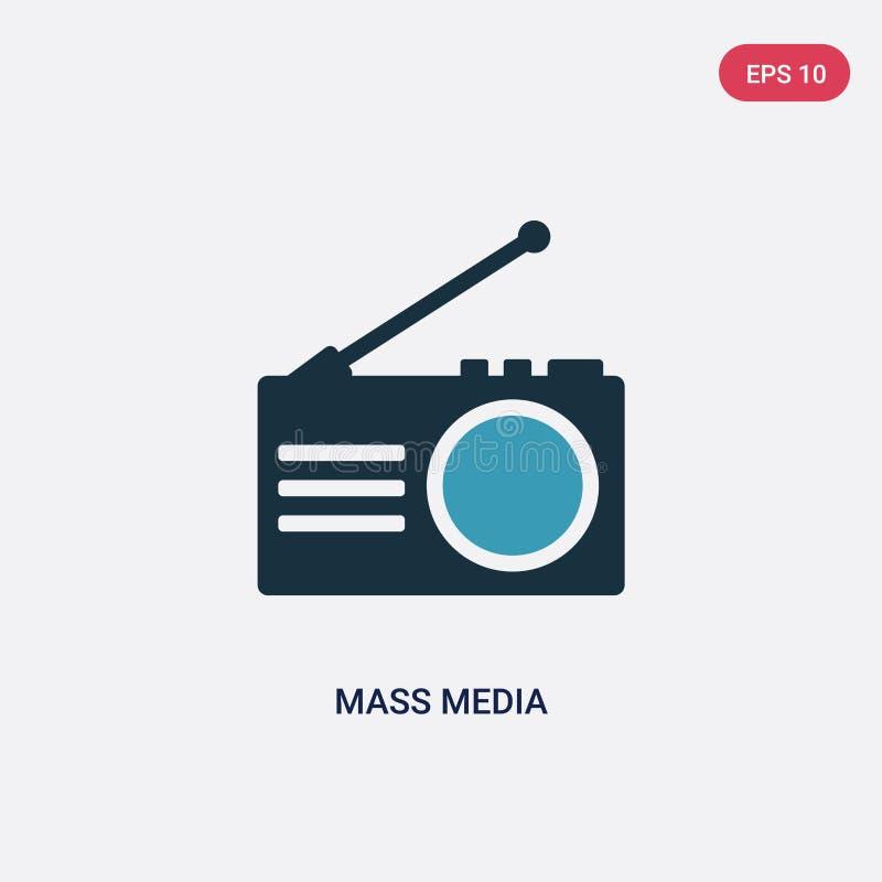 Symbol för vektor för två färgmassmedia från socialt massmedia som marknadsför begrepp det isolerade blåa symbolet för massmediav stock illustrationer