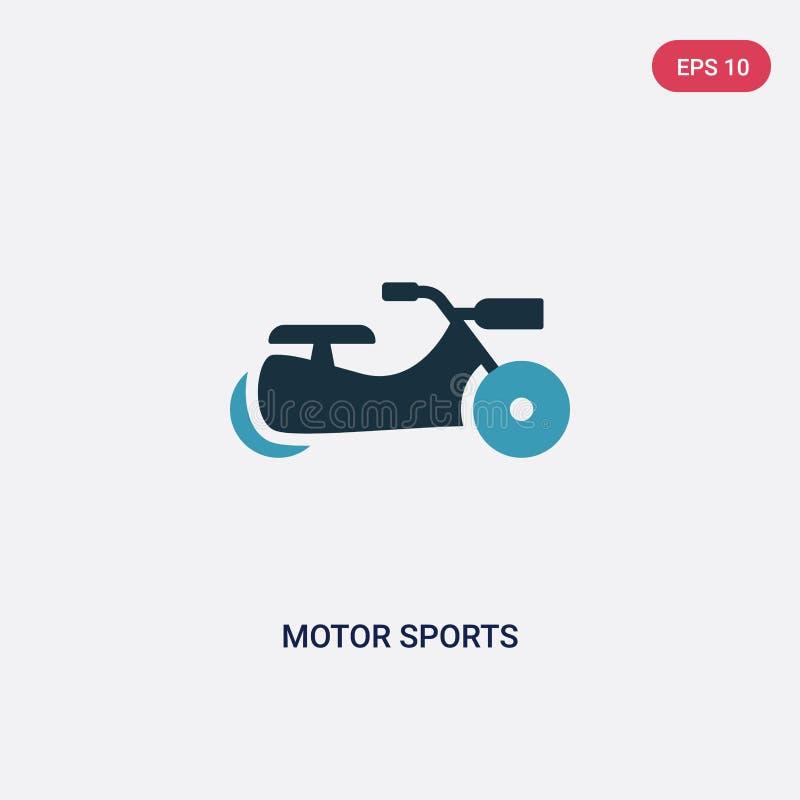 Symbol för vektor för två färgmotorsportar från sportbegrepp det isolerade blåa symbolet för tecknet för vektorn för motorsportar stock illustrationer