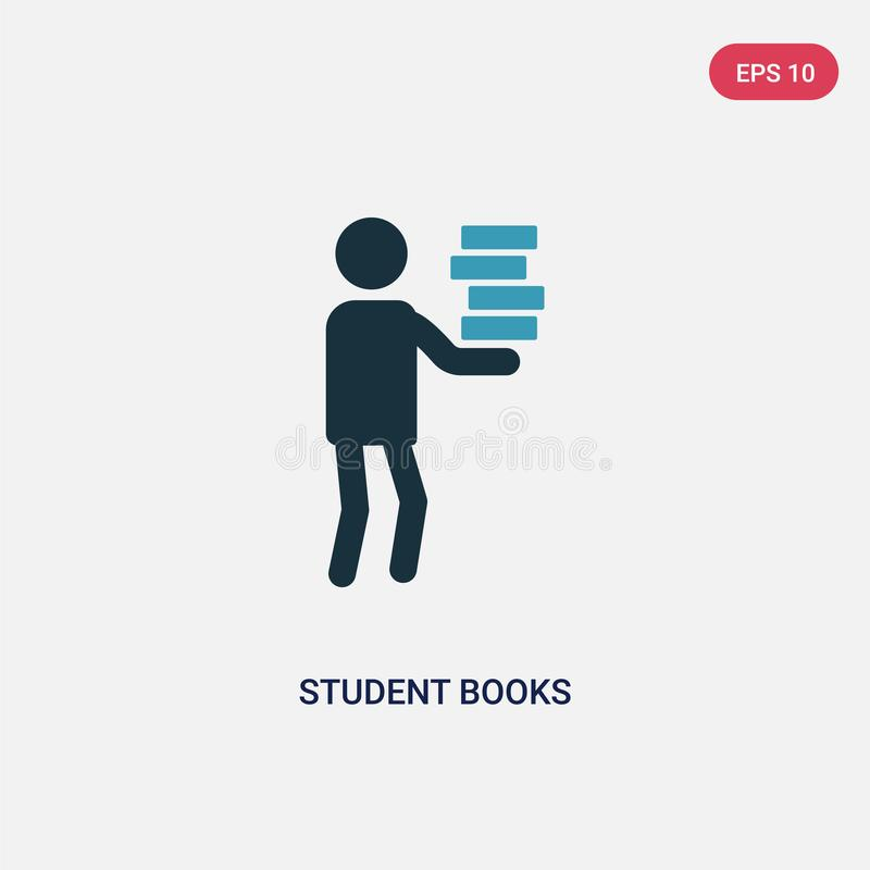Symbol för vektor för två färgstudentböcker från folkbegrepp det isolerade blåa symbolet för tecknet för studentbokvektorn kan va royaltyfri illustrationer