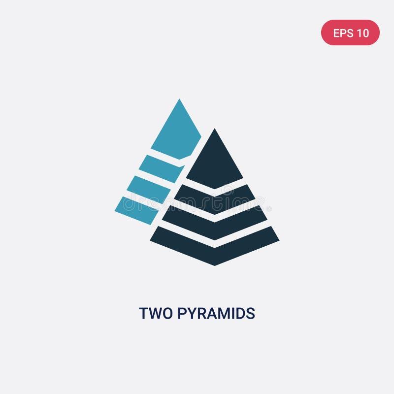 Symbol för vektor för två pyramider för färg två från seo- och rengöringsdukbegrepp det isolerade blåa för vektortecknet för två  vektor illustrationer