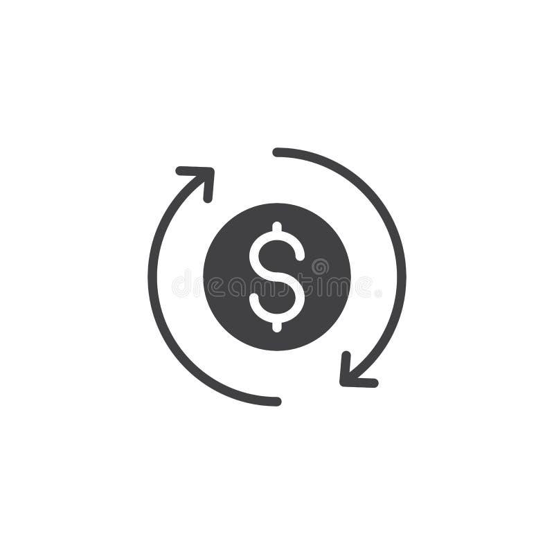 Symbol för vektor för utbytesdollarvaluta stock illustrationer