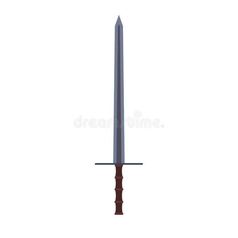Symbol för vektor för vapen för svärdvektorillustration Forntida skarpt bladsymbol Handtag för fäste för tecken för krigkonturfan royaltyfri illustrationer
