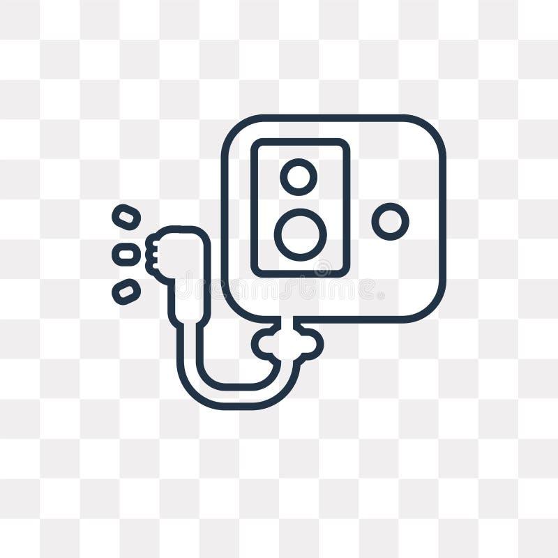 Symbol för vektor för vattenvärmeapparat som isoleras på genomskinlig bakgrund, lin stock illustrationer