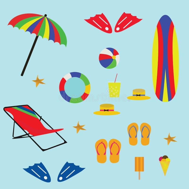 Symbol för vektorer för strandsymbolsuppsättning tropisk royaltyfri illustrationer
