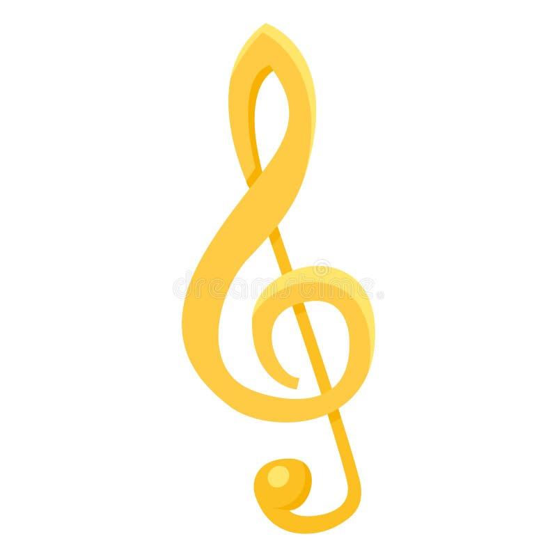 Symbol för vektorfärglägenhet - musikanmärkning vektor för klavillustrationtreble vektor illustrationer