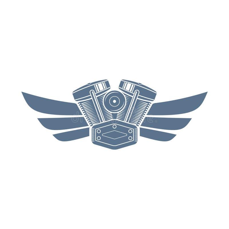 Symbol för vektormotorcykelmotor vektor illustrationer
