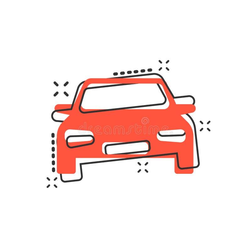 Symbol för vektortecknad filmbil i komisk stil Bilmedelillus vektor illustrationer