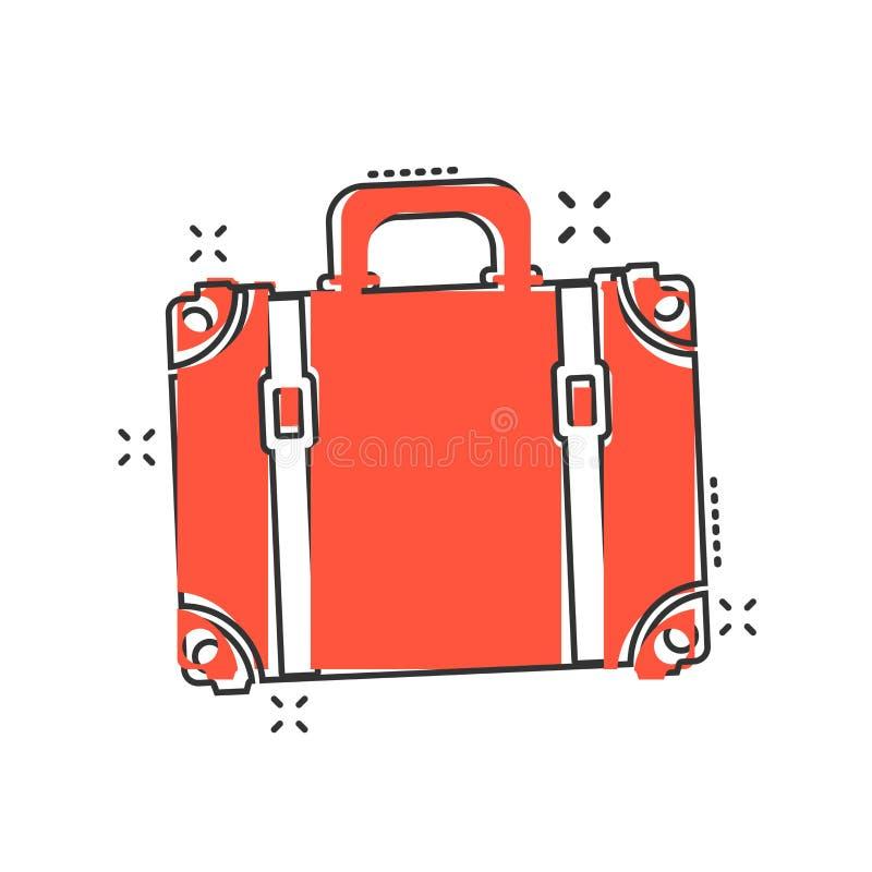 Symbol för vektortecknad filmresväska i komisk stil Fall för turism, j royaltyfri illustrationer