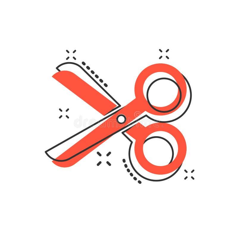Symbol för vektortecknad filmsax i komisk stil Scissor teckenillust vektor illustrationer