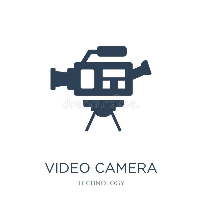 symbol för videokamerasidosikt i moderiktig designstil symbol för videokamerasidosikt som isoleras på vit bakgrund videokamerasid royaltyfri illustrationer
