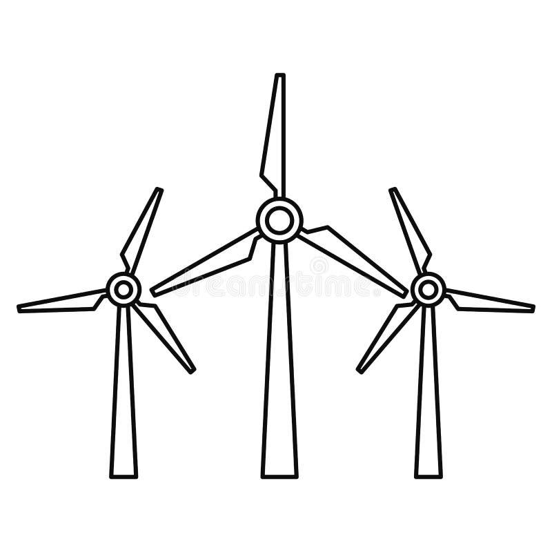 Symbol för vindenergi, översiktsstil royaltyfri illustrationer