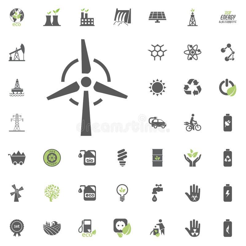 Symbol för vindkraftväxt Uppsättning för Eco och för alternativ energi vektorsymbol Vektor för uppsättning för resurs för makt fö stock illustrationer