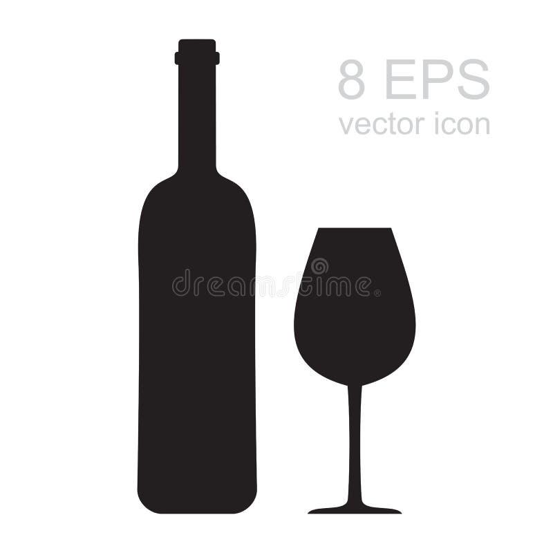 Symbol för vinexponeringsglas royaltyfri illustrationer