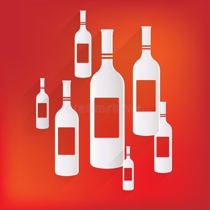 Symbol för vinflaska vektor illustrationer