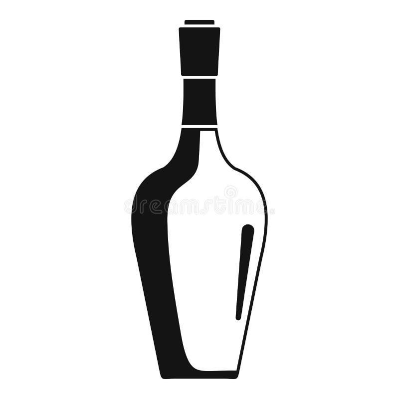 Symbol för vinflaska, enkel stil royaltyfri illustrationer