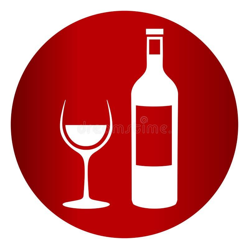 Symbol för vinflaska och exponeringsglas royaltyfri illustrationer