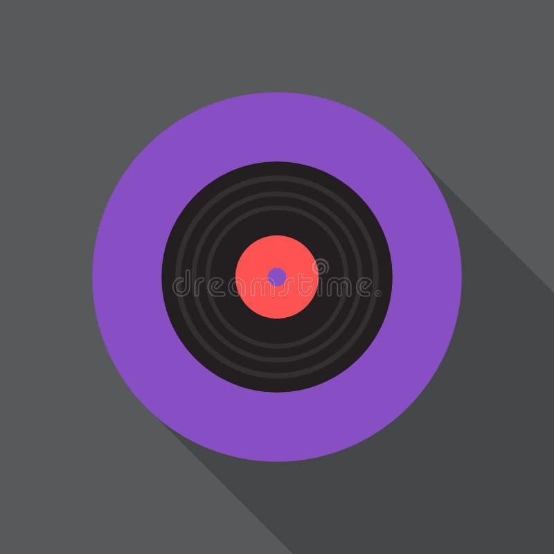 Symbol för vinyldiskettlägenhet Rund färgrik knapp, tecken för vektor för grammofonrekord runt, logoillustration stock illustrationer