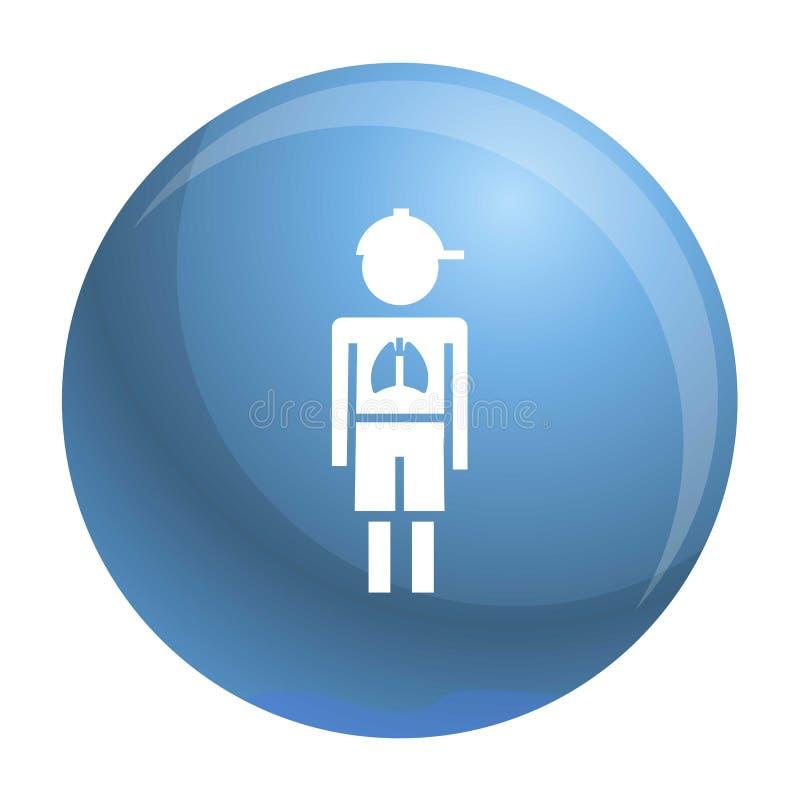 Symbol för virus för flickapojkelunginflammation, enkel stil royaltyfri illustrationer