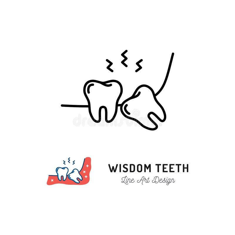 Symbol för vishettänder Vishettanden eller den tredje kindtanden, tandvärk, käke smärtar Plan illustration för vektor stock illustrationer