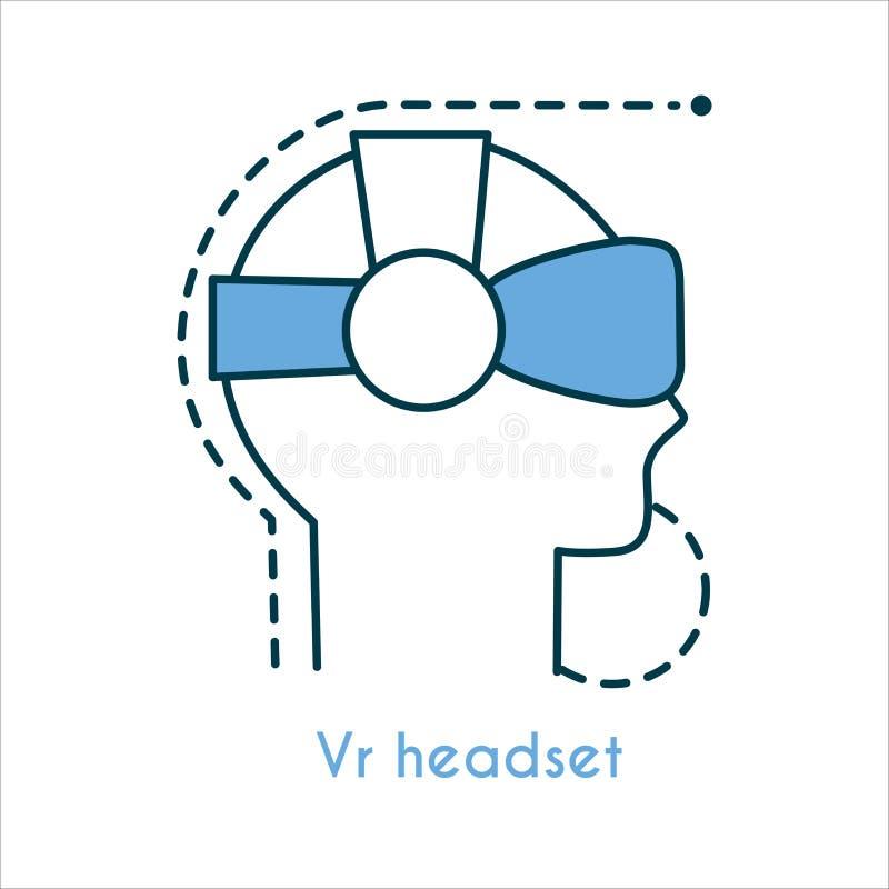 Symbol för Vr hörlurar med mikrofonlägenhet stock illustrationer
