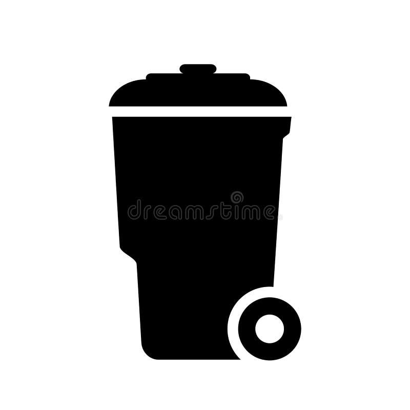 Symbol för Wheeliesoptunnavektor stock illustrationer