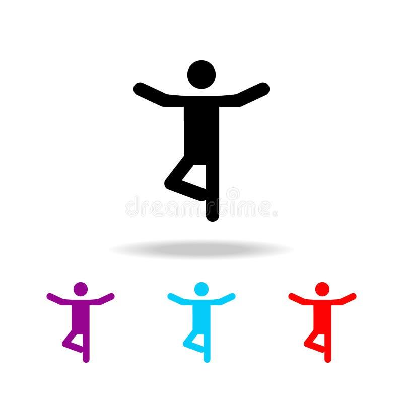 Symbol för yogakonturman Beståndsdelar av folk i olika aktiviteter i mång- kulöra symboler Högvärdig kvalitets- symbol för grafis stock illustrationer