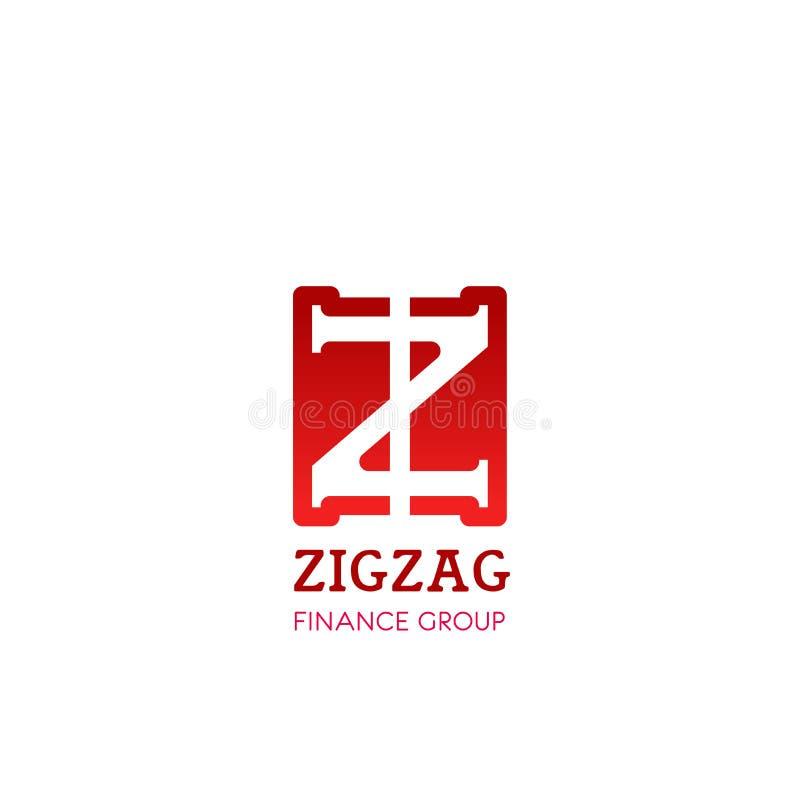 Symbol för z-bokstavsvektor för sicksackfinansgrupp stock illustrationer