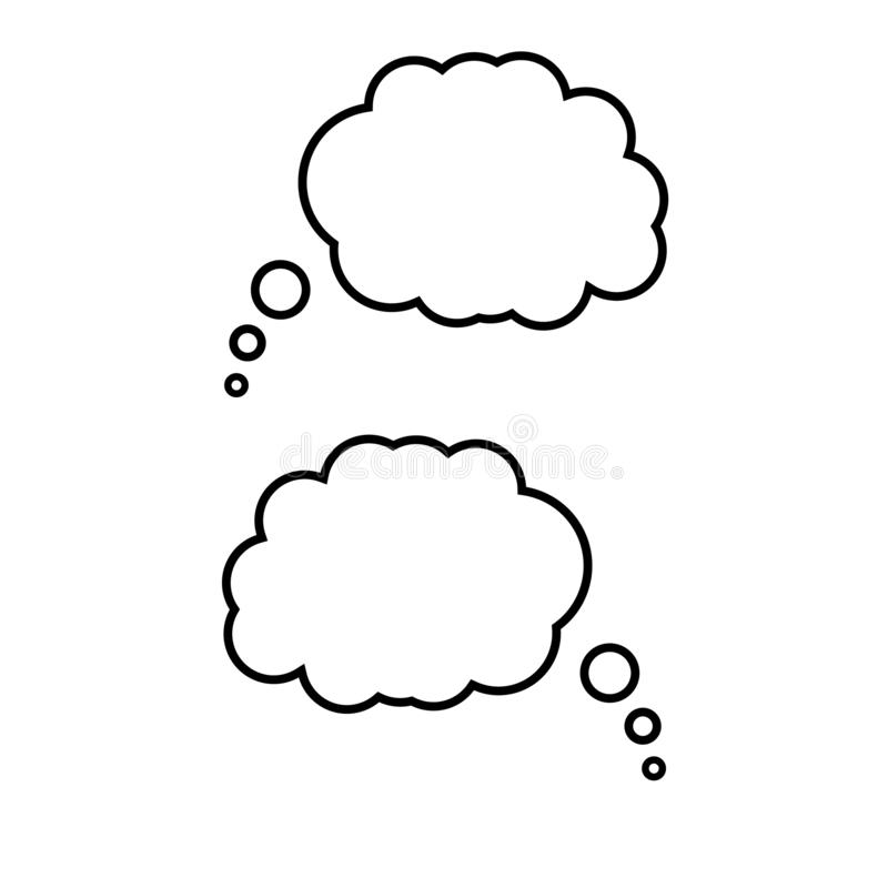 Symbol für Blasenkrebs nachdenken Trendy Think Bubble Illustrationssymbol Creative Threadballon-Schild lizenzfreie abbildung