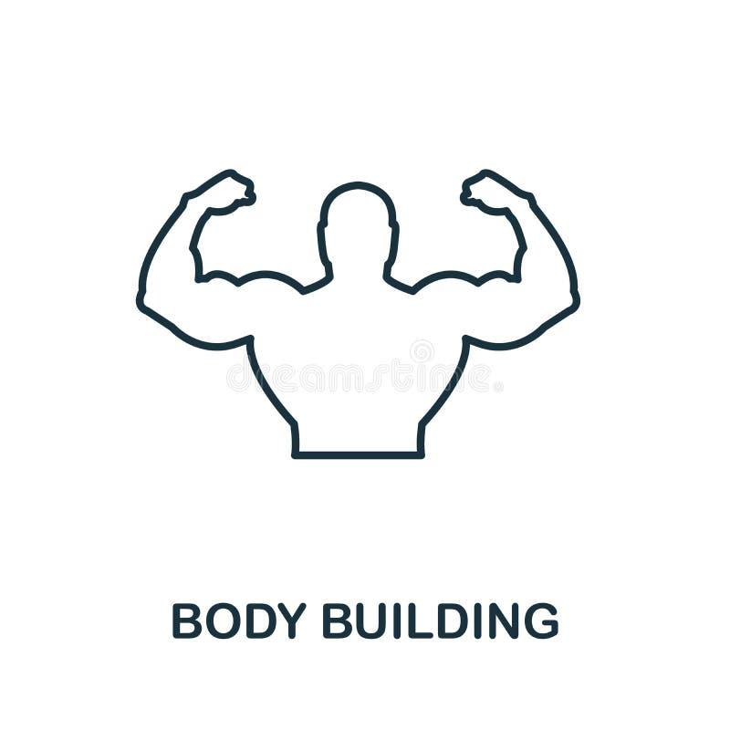 Symbol für Body Building Dünne Konturen Stilgestaltung aus der Sammlung von Fitness-Icons Creative Body Building Icon für Webdesi lizenzfreie abbildung