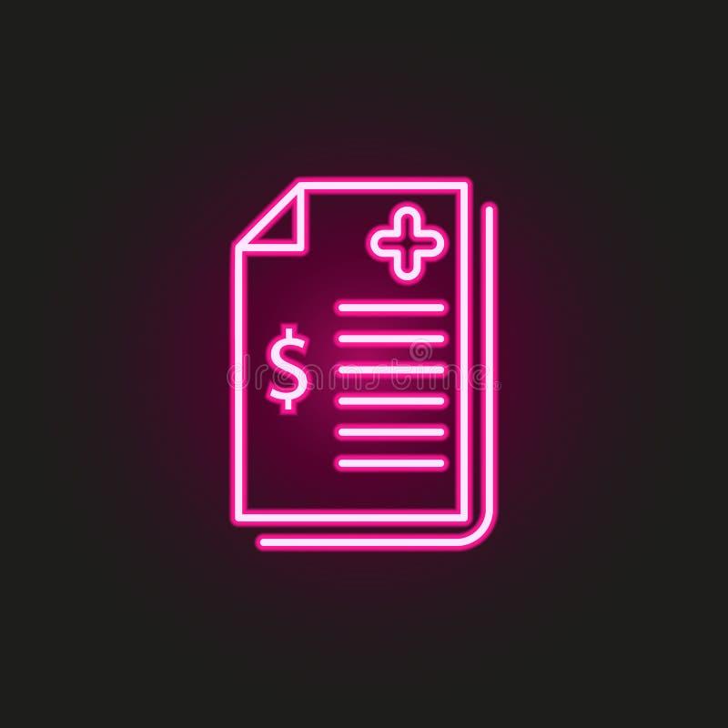 Symbol für den Neonstil der medizinischen Rechnung Einfache dünne Linie, Konturvektor für medizinische Icons für i und ux, Websit vektor abbildung